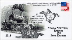 18-246, 2018, Nevada Northern Railway, Pictorial Postmark, Pony Express, event