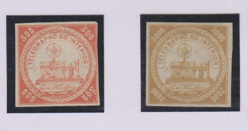 O) 1869 BRAZIL, TELEGRAPHIC STAMPS, 500 R VERMILLION AND 200