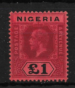 NIGERIA SG12 1914 £1 DEEP PURPLE & BLACK ON RED MTD MINT