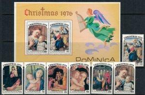 Dominica #502-9* NH  CV $3.20  Christmas 1976 set & souvenir sheet