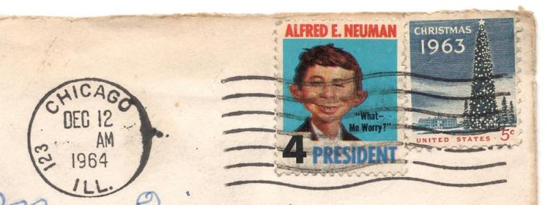 Alfred E. Newman - 4 President - Stamp - On Cover