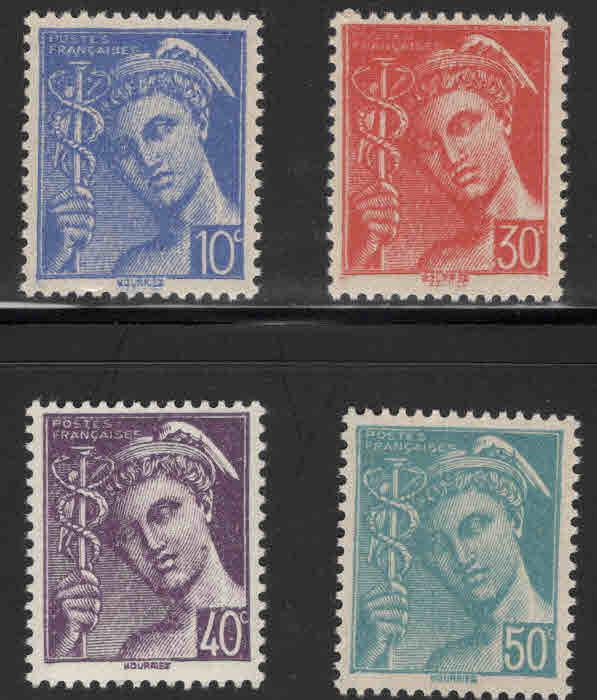 France Scott  455-458  MNH** 1942 Mercury set