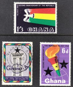Ghana Scott 121-23 complete set  F to VF mint & used.