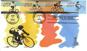 Bicycling First Day Cover, w/ 4-bar cancel