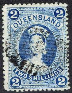 QUEENSLAND 1882 QV LARGE CHALON 2/- WMK LARGE CROWN/Q UPRIGHT USED