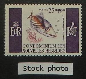 New Hebrides (Fr.) 116. 1966 25c Striped Triggerfish, NH
