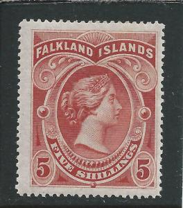 FALKLAND IS 1898 5s RED MM SG 42 CAT £250