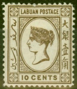 Labuan 1893 10c Sepia-Brown SG43a Good Mtd Mint