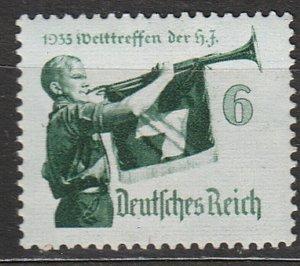 Stamp Germany Mi 584x Sc 463 1935 WW2 Third Reich War World Hitler Trumpet MNH