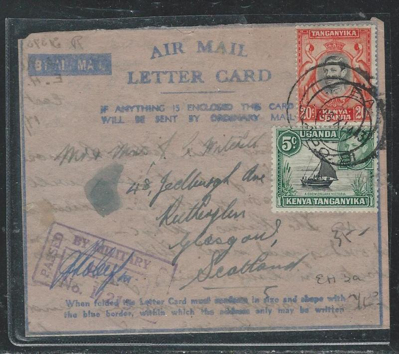 KENYA, UGANDA, TANGANYIKA (P2908B) KGVI AIR LETTER CARD 1943 APO CENSOR TO UK