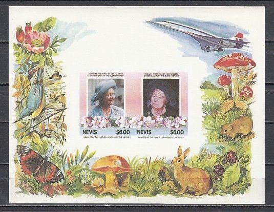 Nevis, Scott cat. 433 a-b. Queen`s Birthday s/sheet. Missing Gold and words