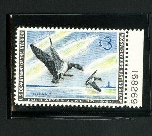 US Stamps # RW31 XF Choice with plate # OG NH