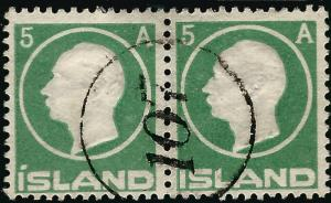Used Iceland 1912 #92 F-VF Numerical Pair $28...high quality stamp!!