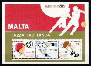 Malta, Scott cat. 681a. Mexico`s World Cup Soccer s/sheet.