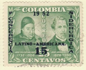 Colombia 1952 15c on 25c Fine Used A8P55F112