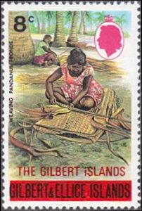 Gilbert Islands # 259 mnh – 8¢ Weaving Pandanus Leaves, overprint