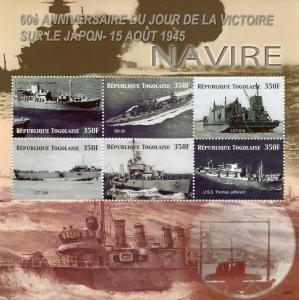 Togo 2006 MNH WWII WW2 VJ Day World War II USS Jefferson 6v M/S Ships Stamps