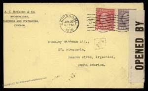 USA 1918 2c 3c Washington Coils Cover Buenos Aires Argentina WWI Censor 89432