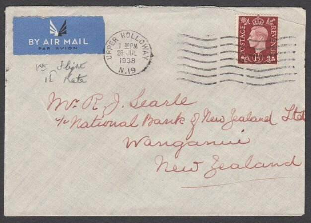 GB 1938 1½d rate 'All Up' airmail first flight cover to New Zealand.........Q124