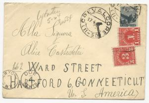 Italy Scott #473 & US Postage Due on Cover to Connecticut April 17, 1946