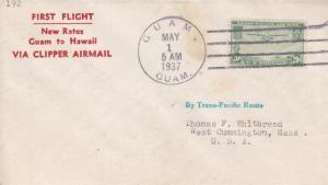 1937, Guam to MA, New Rate Clipper Mail, Guam to HI (4034)