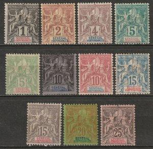 Senegal 1892-1900 Sc 35-45 Yt 8-15,21-3 partial set MH* some disturbed gum