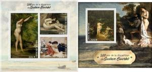 GOUSTAVE COURBET ART PAINTINGS CONGO 2019 MNH STAMP SET