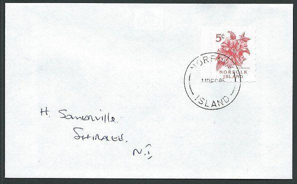 NORFOLK IS 1995 local cover with 5c Red Hibiscus local stamp...............42779