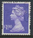Great Britain SG Y1743 SC# MH279  Machin £1 Used  Bluish Violet