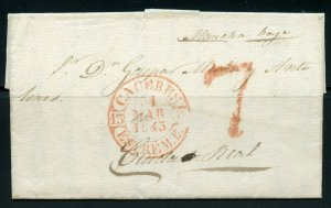 SPAIN CACERES 3/31/1843  STAMPLESS COMPLETE FL TO CIUDAD REAL 4/7/1843 AS SHOWN