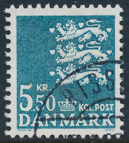 Denmark Scott 717 (AFA 794), 5.50kr State Seal, VF Used