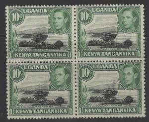 KENYA, UGANDA & TANGANYIKA SG135/a 1949 10c MOUNTAIN RETOUCH IN MNH BLOCK OF 4
