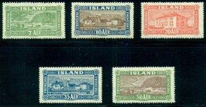 ICELAND #144-8 Complete Landscape set, og, LH, VF, Scott $337.50