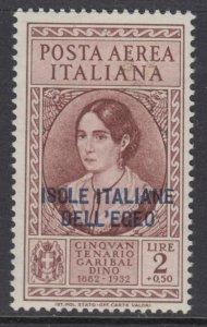 ITALY - EGEO - Garibaldi - Sassone A17 cv 330$ MNH**