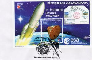 Madagascar 1999 1st.Space European Post ESA  SS (1) Perforated FDC