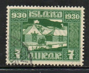 Iceland Sc  154 1930 7 aur Althing stamp used
