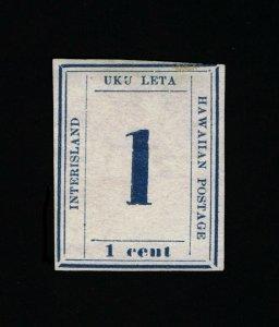 GENUINE HAWAII SCOTT #25 F-VF MINT NGAI 1865 DARK BLUE ON WOVE PAPER  #15819