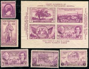 Scott # 776 - 784 w/ 778 (SOUVENIR SHT)1936 Commemorative Year Set of 6 Mint NH