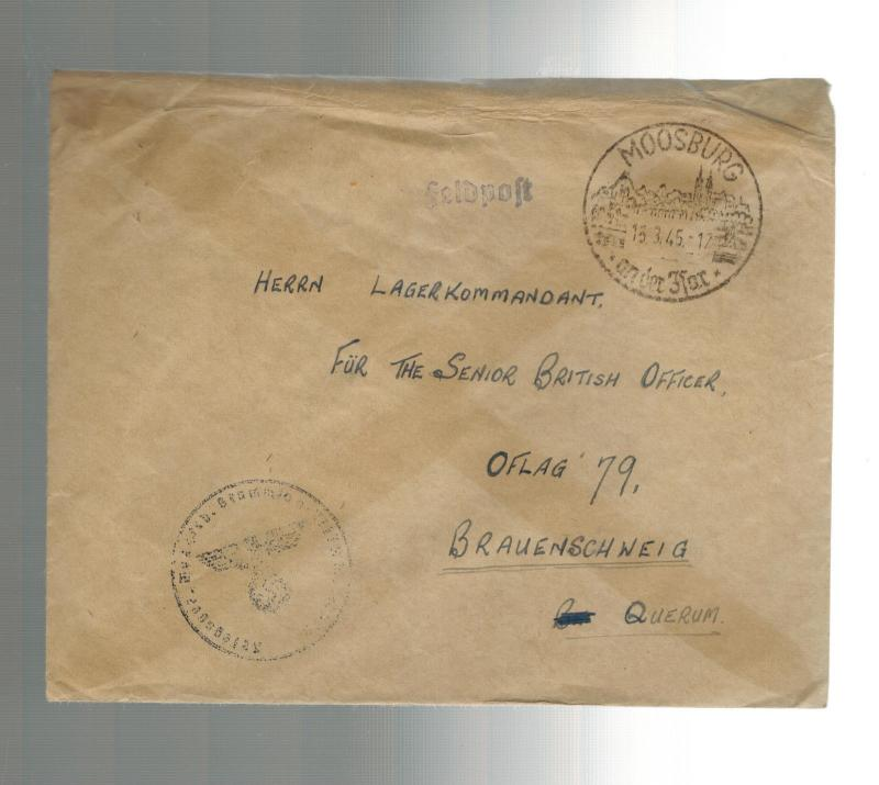 1945 Moosburg Stalag Germany Inter POW Camp Cover to Oflag 79 British Officer
