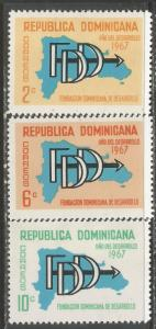 DOMINICAN REPUBLIC 633-35 MOG MAP 960F