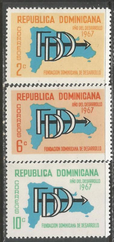 DOMINICAN REPUBLIC 633-35 MOG MAP 960F