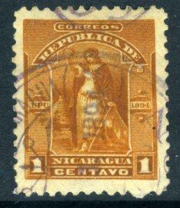 Nicaragua 1894 Seebeck Issues 1¢ Goddess w/Cross VFU U365 ⭐⭐⭐⭐⭐⭐