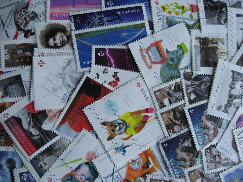 Canada 50 different U 2015 stamps includes Dino tag varieties, mixed condition.