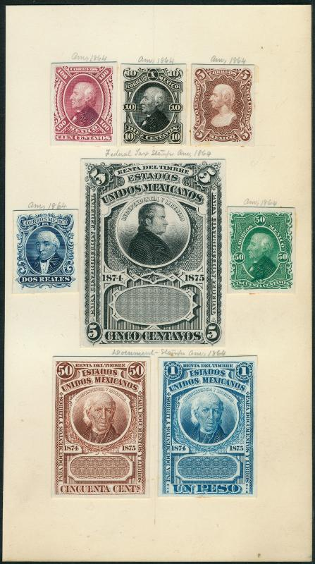 MEXICO 1864 (8) DIFF ABNCo. XF-SUPERB PLATE PROOFS ON INDIA (EX-GREEN) HV5318