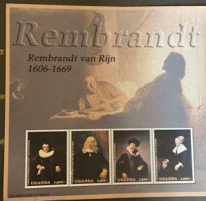 M) 2003 UGANDA, PAINTINGS BY REMBRANDT 1606-1669, PORTRAIT OF MARGARETHA DE GEER