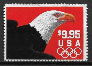 1991 USA 2541 Express Mail Eagle with Olympic Rings used.