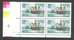 2805 Columbus Landing In Puerto Rico Plate Block Mint/nh Free Shipping