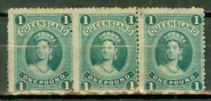 Australia Queensland 78 used strip of 3 with cert CV $525