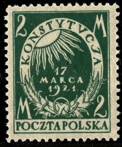 POLOGNE / POLAND / POLEN 1921 Mi.164 2Mk dark green March Constitution - Mint*