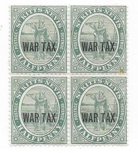 St Kitts - Nevis #MR1 1/2p War Tax  block of 4 (MH) CV$6.00